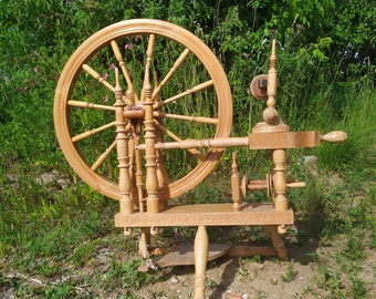 """Rare Vintage Swedish wheel Parlor wooden Spinning WHEEL with Wheel 26"""" Signed"""