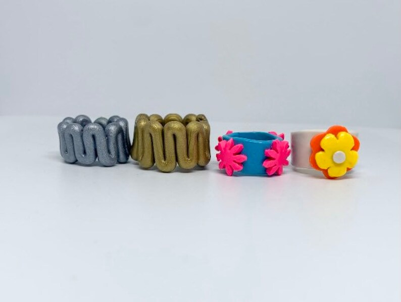 Chunky clay rings handmade colorful funky clay rings