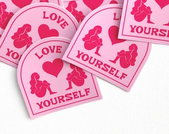 love yourself sticker | self love club, positive affirmation, body positivity, positive vibes, feminist art, self care, motivational quote