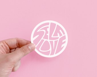 self love sticker | positive vibes, hand drawn typography, positivity, unique lettering, self care club, mental health, cute reminder