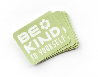 be kind to yourself sticker | smiling flower, positive affirmation, motivational quote, inspiring, self love club, mental health, kindness
