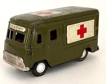 "Antique 1950s Korean War Era Tin Metal U. S. Army Ambulance Truck Van 5"""