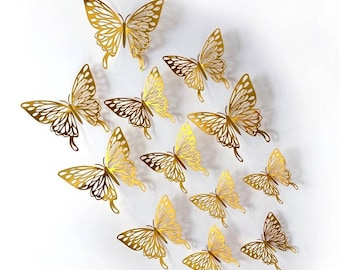 3D Gold Butterflies Wall Decor. 3 to 4 Inches Foil Butterfly Set. Set of 12 or set of 24pcs.