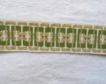 Vintage French passementerie Curtain embellishment Retro upholstery trim Fabric braid Vintage gimp Furniture galon Edging Lampshade trim