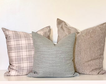Light Blue with Gray Organic Stripe Pillow Cover
