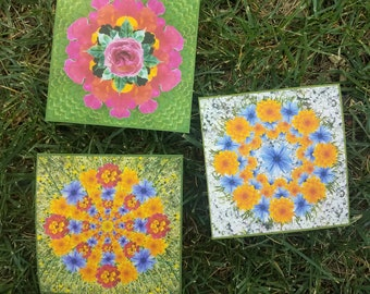 Set of 3 Stickers ** Spring & Summer Flower ** Floral Mandala Stickers