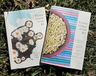 Flora Libra Zine Combo Pack - DIY Publication - Two Handmade Booklets