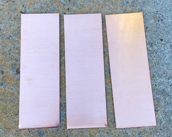 3 x.75 Rectangular Raw Copper Stamping Blanks 10 aprox 24 Gauge Made from 16oz