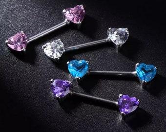 Crystal heart nipple bar