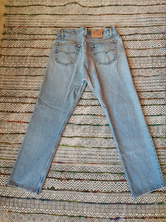 80s LEVIS 501 Button-Fly Jeans USA Made Distresse… - image 4