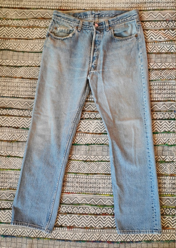 80s LEVIS 501 Button-Fly Jeans USA Made Distresse… - image 1
