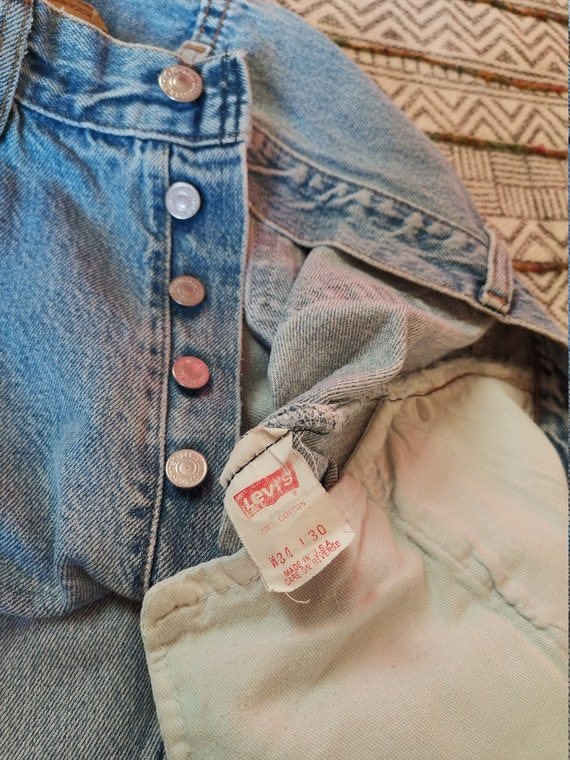 80s LEVIS 501 Button-Fly Jeans USA Made Distresse… - image 7