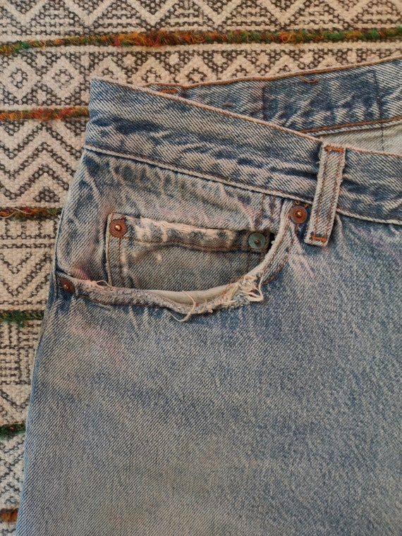 80s LEVIS 501 Button-Fly Jeans USA Made Distresse… - image 5