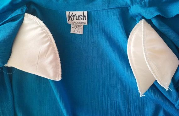 80s Krush of California Blue Blouse Simple Elegan… - image 7