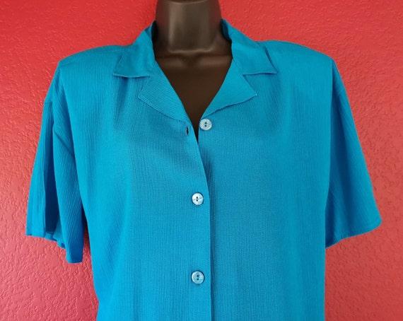 80s Krush of California Blue Blouse Simple Elegan… - image 2
