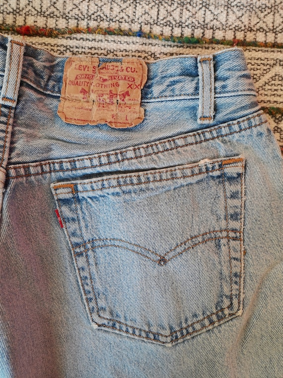 80s LEVIS 501 Button-Fly Jeans USA Made Distresse… - image 3