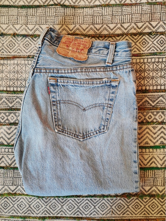80s LEVIS 501 Button-Fly Jeans USA Made Distresse… - image 9