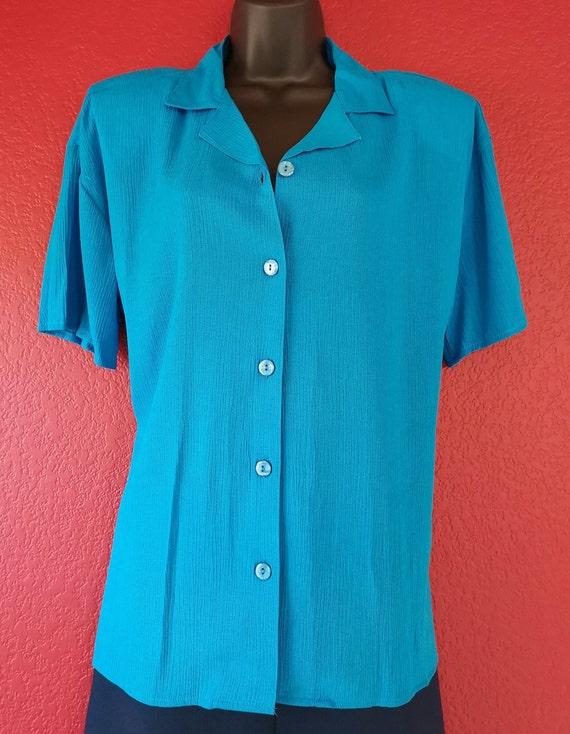 80s Krush of California Blue Blouse Simple Elegan… - image 3