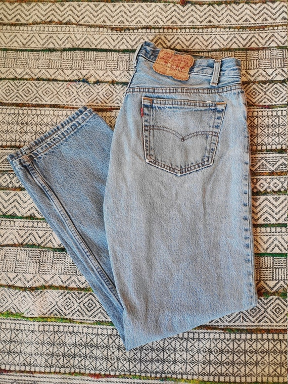 80s LEVIS 501 Button-Fly Jeans USA Made Distresse… - image 2