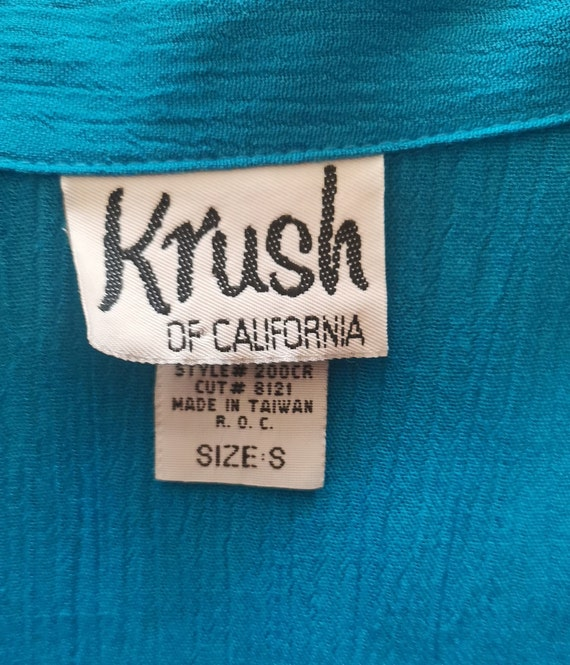 80s Krush of California Blue Blouse Simple Elegan… - image 5