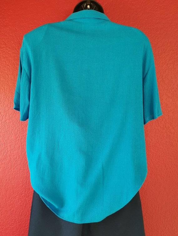 80s Krush of California Blue Blouse Simple Elegan… - image 4