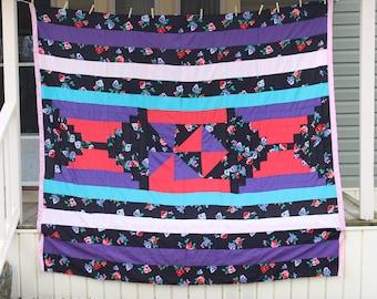 Handsewn Quilt, Cotton Quilt, Tapestry Quilt, Gee's Bend Quilt