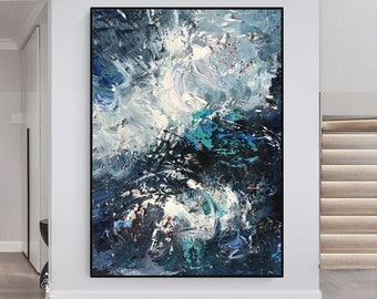 Large Blue Abstract Oil Painting, Original Abstract Art, Heavy Texture Painting, Contemporary Acrylic Art, Abstract Painting on Canvas