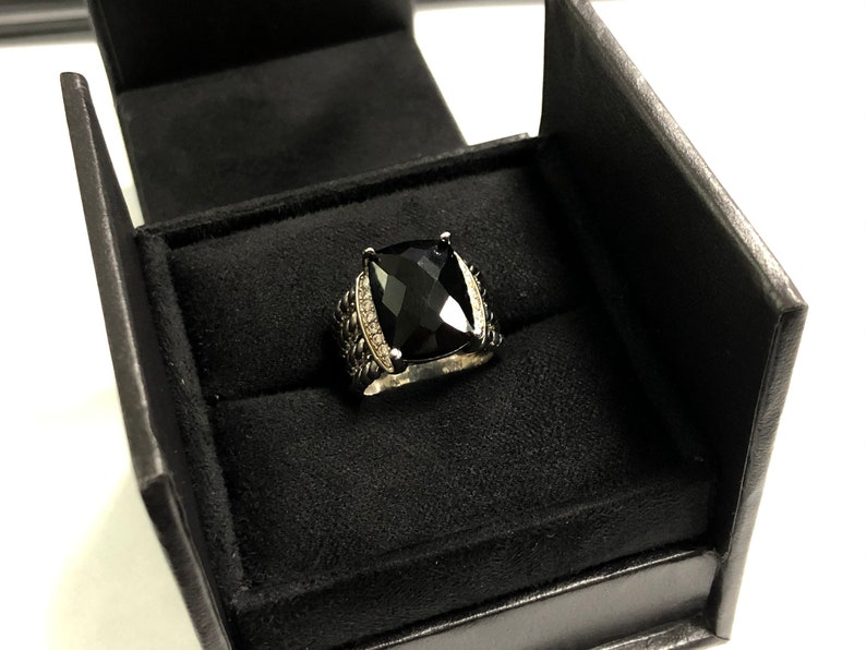 David Yurman Sterling Silver Onyx /& Diamond Wheaton Ring Size #7#8 Black