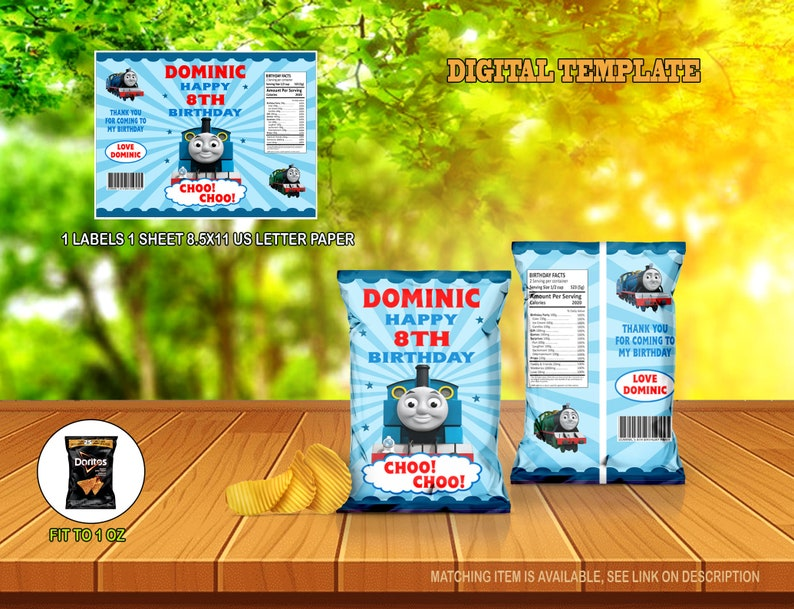 Chip Wrapper Train Birthday Chip Bag Chip Bag Labels Digital Template Chip Bag Template Thomas the Train Chip Bag Birthday Party Favor