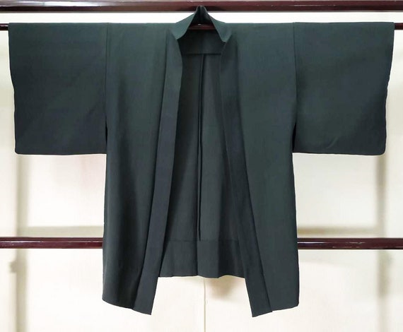 Black crepe kimono, black silk haori jacket, Authe