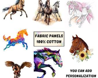 100/% cotton horse fabric panels Horse print fabric fat quarters bundle