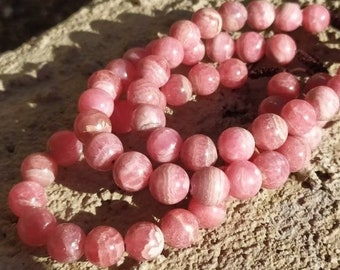 """Pink Rhodochrosite Bracelet, 10mm Large Beads, Pink Gemstone Crystal AAA 7""""-8"""" wrist, Adjustable Knot, Hand Picked More Pink Bright and Rare"""