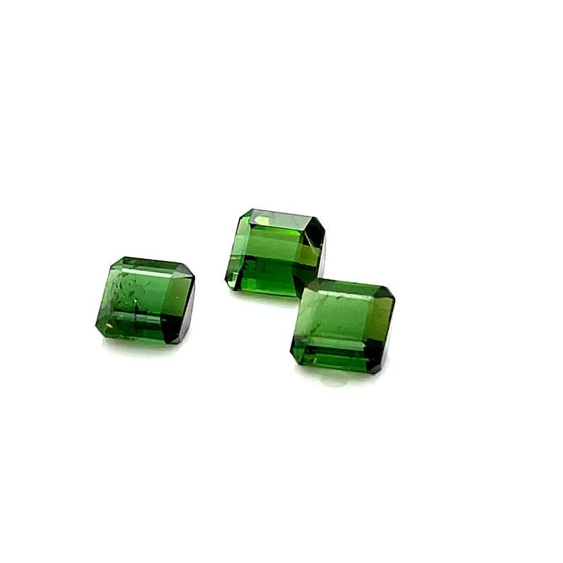 6.46 Carats Top Verdelite Green Tourmaline 3 PcsIntense Mint Green Tourmaline Loose Octagon Shape Gemstone