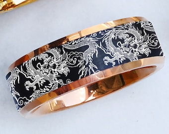 Engraved Black Tungsten Dragon Wedding Band Ring, Traditional Dragon Pattern Ring, Dragon Lore Ring, Detailed Dragon Promise Band - 8mm