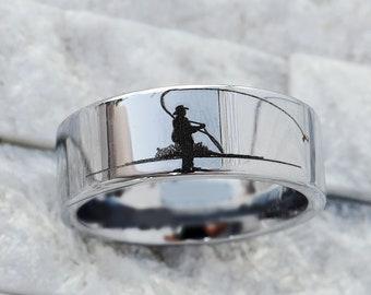 His Promise Ring Fishing Boat Fishermen Fish Engraved Ring His Tungsten Ring Fish Engraved Ring Unique Custom Ring Mens Wedding Band