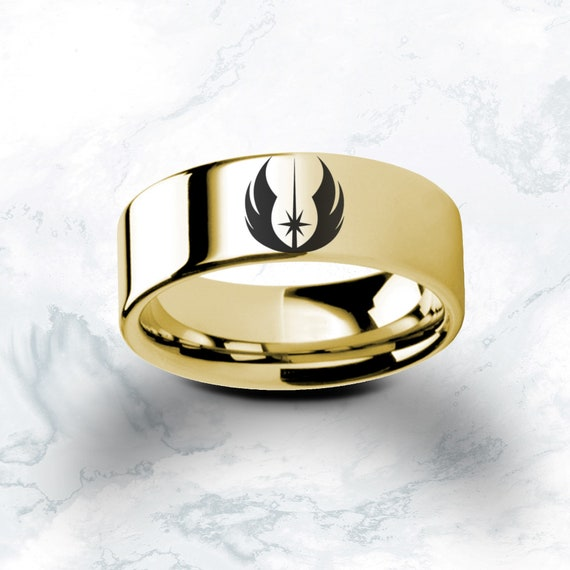 Engraved Star Wars Jedi Order Emblem Star Wars Polished Tungsten Engraved Ring Jewelry - 4mm - 10mm Available, Silver, Black and Gold Colors