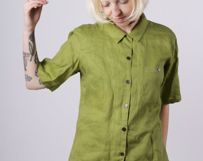 Vintage olive linen women shirt