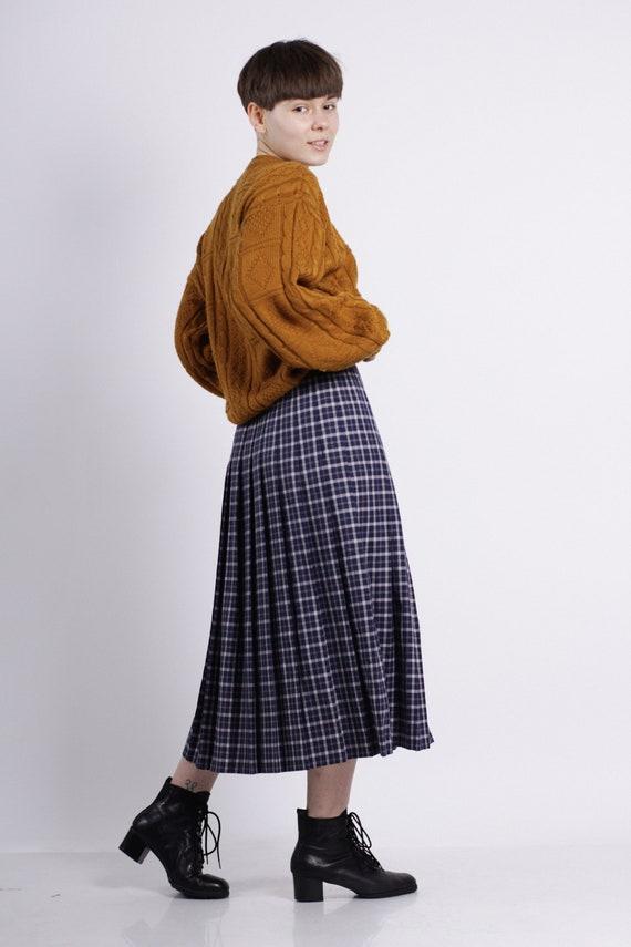Midi pleated skirt, Vintage blue plaid skirt, Long