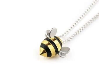 Novelty Sterling Silver Honeycomb Gold Honeybee Bee Pendant Necklace Jewelry WS