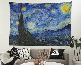 Vincent van gogh starry night blue mystic wall art bohemian psychedelic tapestry tablecloth bed cover curtain backdrop fabric