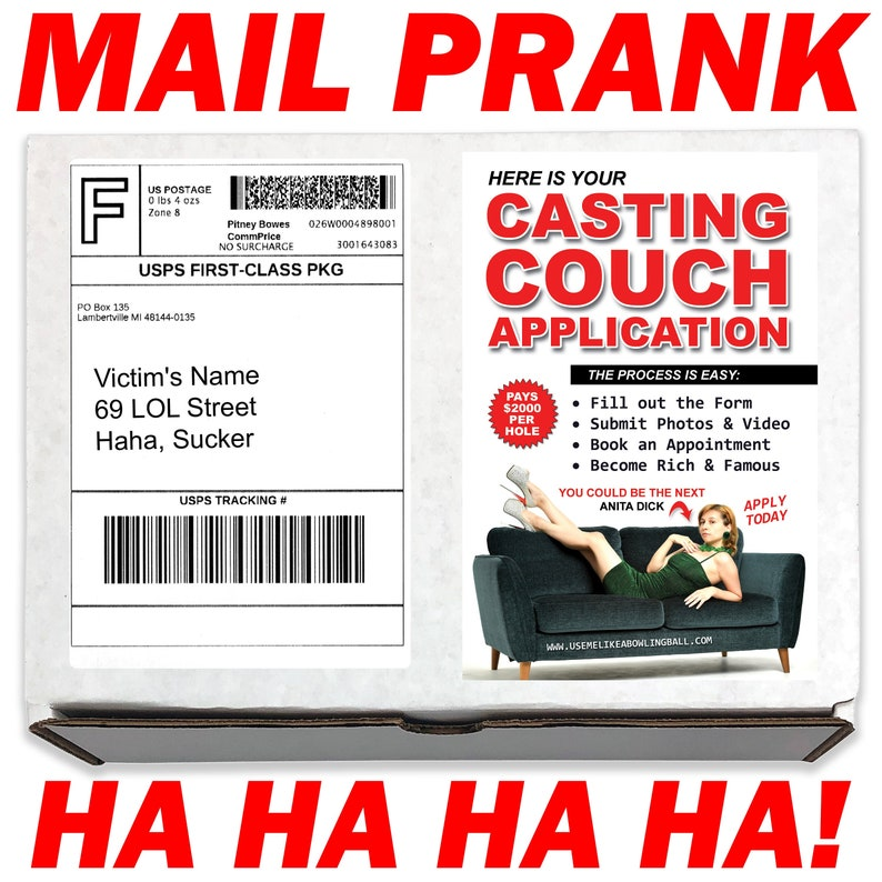 Casting Couch Application Prank Box Gag Gift Funny Prank gets sent directly to a Loved OneGirlfriendVictimFoe 100/% Anonymous