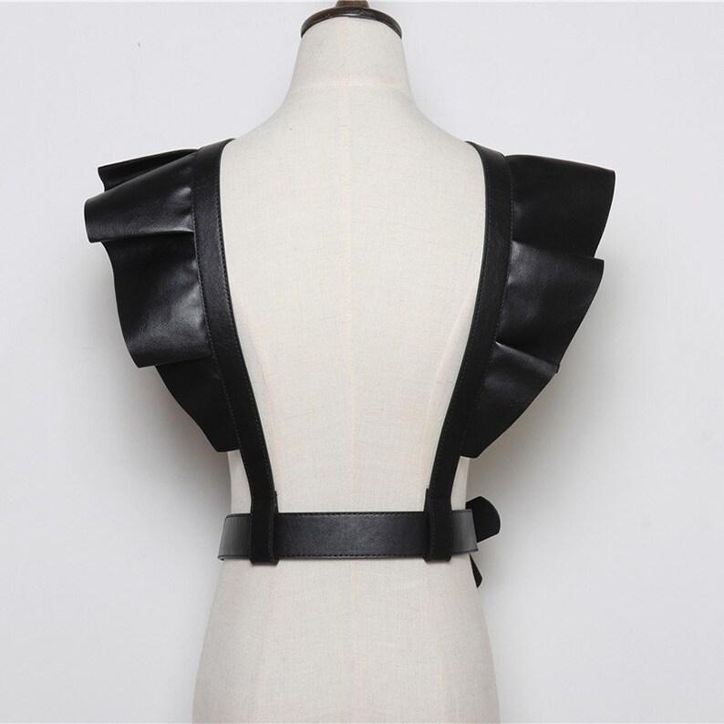 Black PU Leather Crop Top Women Festival Wide Belt