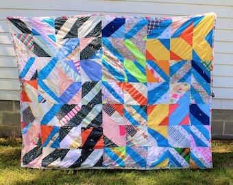 Handsewn Quilt, Vintage Quilt, Handstitched Quilt, Cotton Quilt, Artistic Quilt, Gee's Bend Quilt