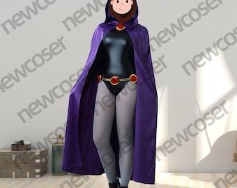 Raven cosplay Women's Rachel Purple Cloak Black Jumpsuit Costume