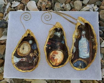 Indigo Mothers Day Gift *15 Ocean theme gift Oyster Ornament Nautical Cape Cod shellfish
