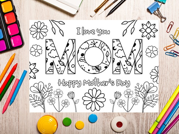 Printable Mothers Day coloring Card for kids. Mothers day DIY