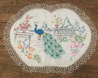 Vintage Hand Embroidered Linen Doily, Italian Scene with Peacock