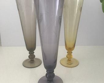 Midcentury Handblown and Hand Cut Harlequin Champagne Flutes (3), Vintage Japanese Art Glass Flutes