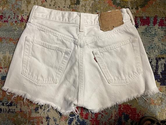 Distressed Levi's 501 White Cutoff Shorts Vintage - image 2