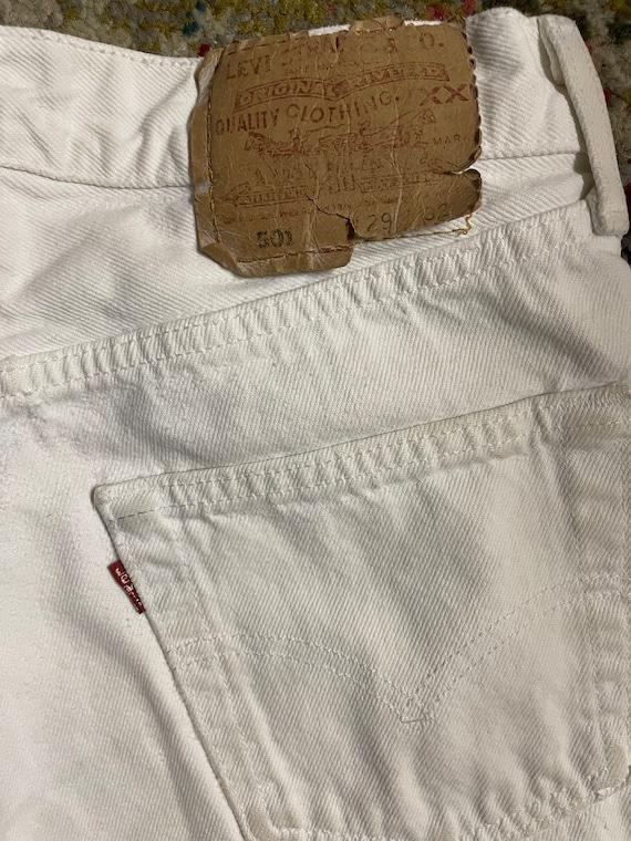 Distressed Levi's 501 White Cutoff Shorts Vintage - image 3